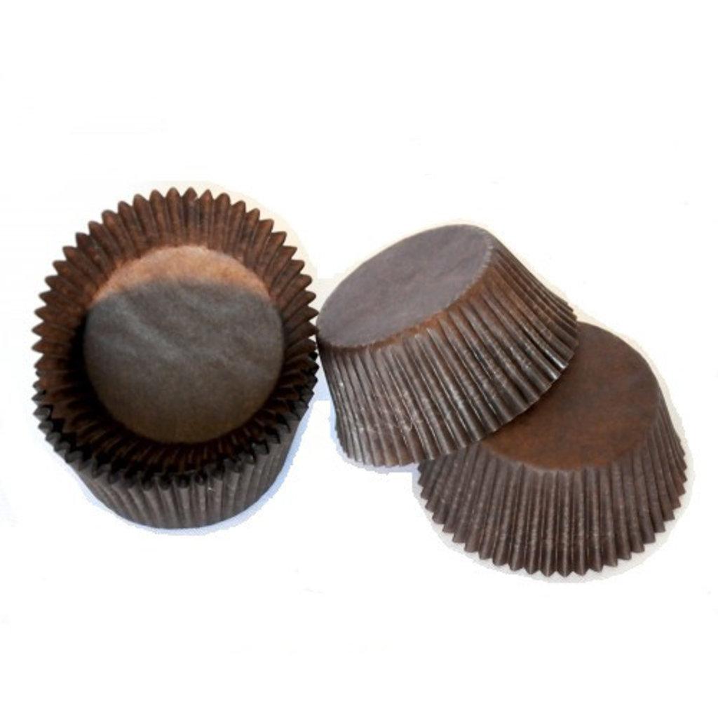 Формы бумажные для выпекания маффинов, пирогов, куличей: Тарталетка 3D бумажная (коричневая)  30х15мм -40руб (100 штук) в ТортExpress