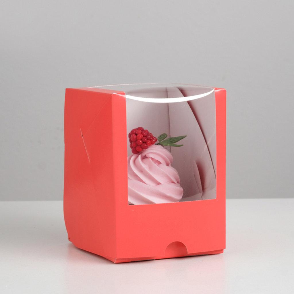 Коробки для капкейков: Упаковка под один капкейк с окном, алый 12,5 х 9,5 х 9,5 см в ТортExpress