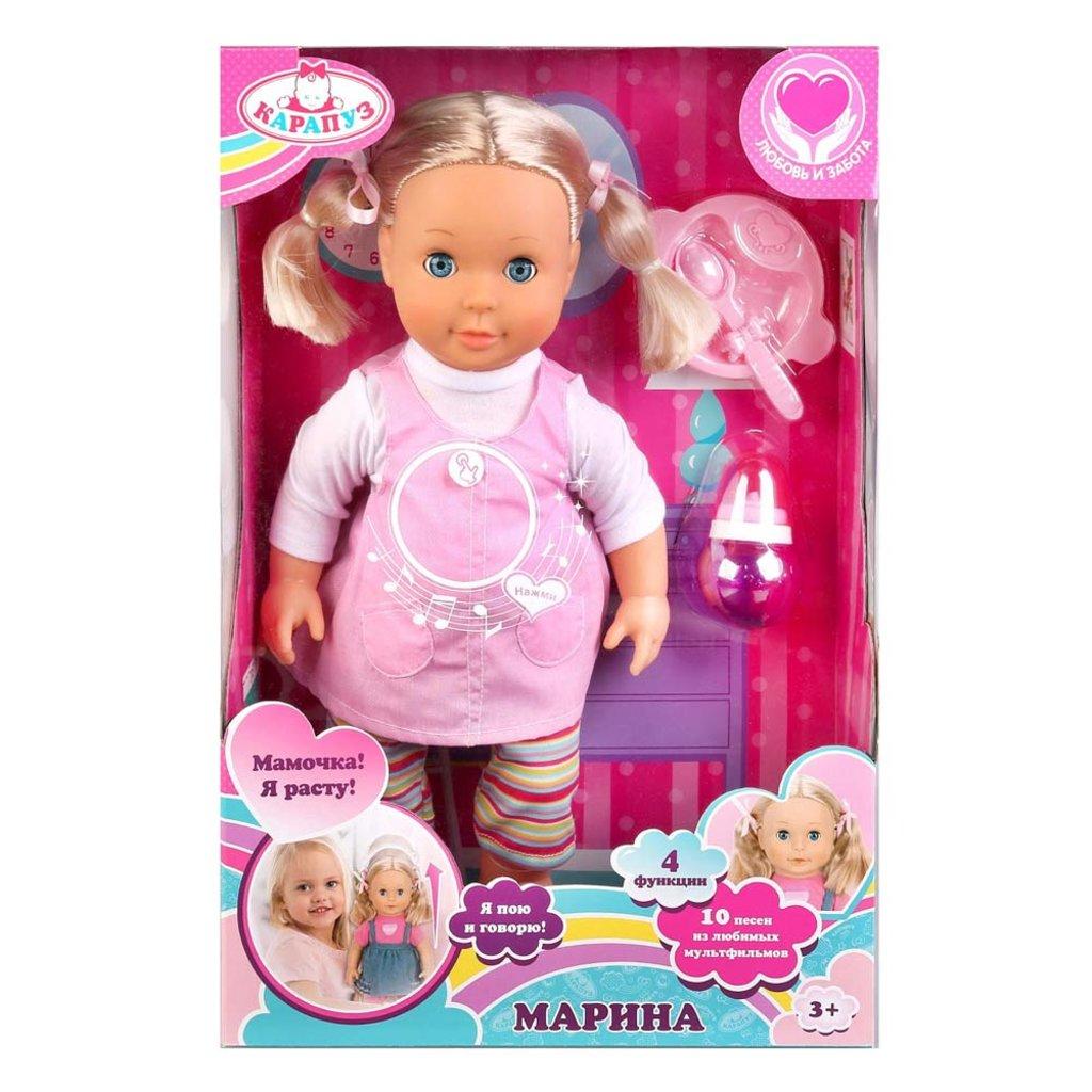 Игрушки для девочек: Кукла Карапуз 18002-RU 40см, твердое тело, 4 функции, растет после еды, поет 10 песен из мультфильмов в Игрушки Сити