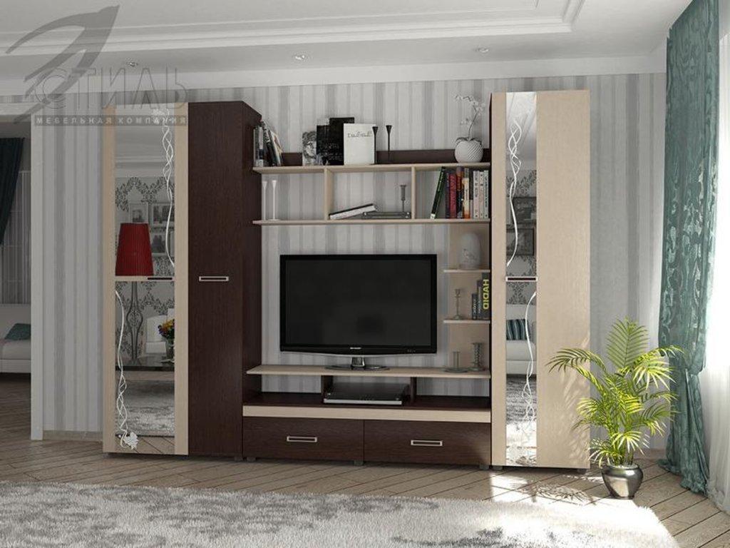 Гостиные: Мебель для гостиной Атлантида-3(А) (венге / дуб молочный) в Диван Плюс