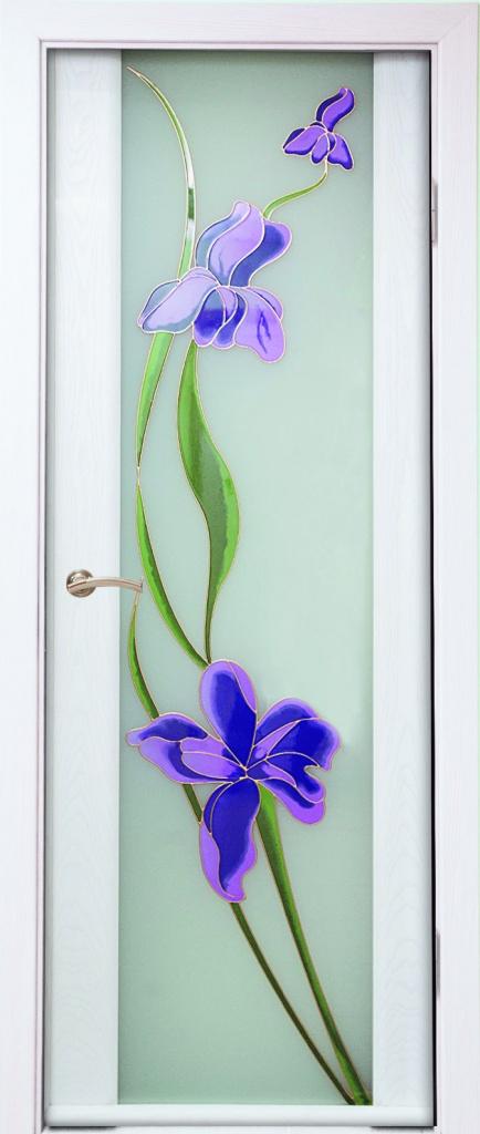 """Двери межкомнатные: Модель """"Палермо-3, стекло Ирис (белый триплекс, наливной витраж) в Двери для вас"""